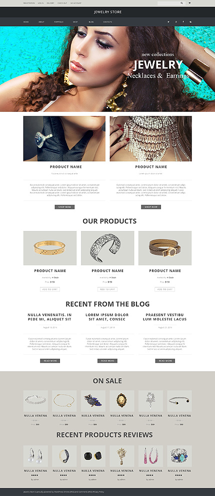 Template 51227 - Jewelry Store Responsive WooCommerce Theme with Slider, Portfolio and Blog