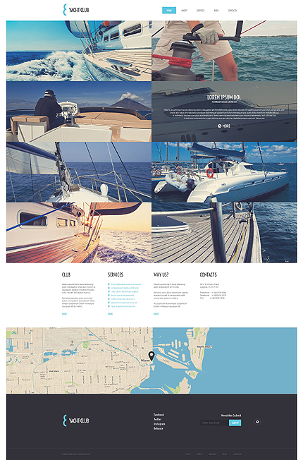Template 51739 - Yacht Club Responsive WordPress Theme with Grid Homepage, Gallery and Blog