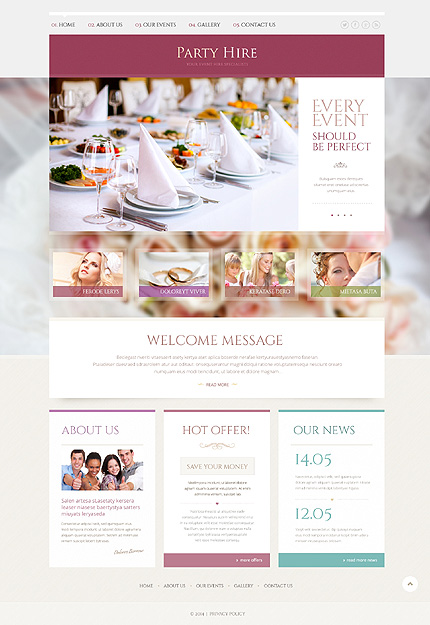 Template 49240 - Party Hire Responsive Website Template with Gallery