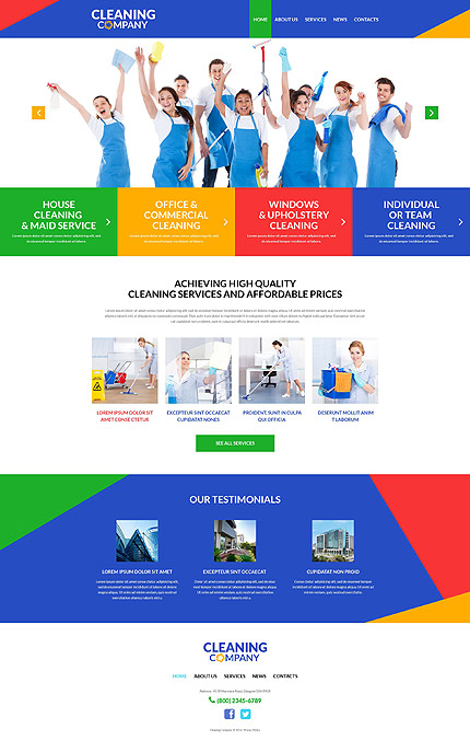 Template 51991 - Cleaning Company Responsive WordPress Theme with Parallax Slider, Lazy Load and Hover Effects