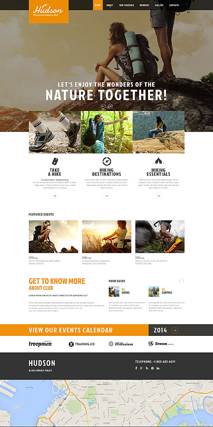 Template 52091 - Hiking Responsive Website Template with Slider, Gallery and Animation Effects