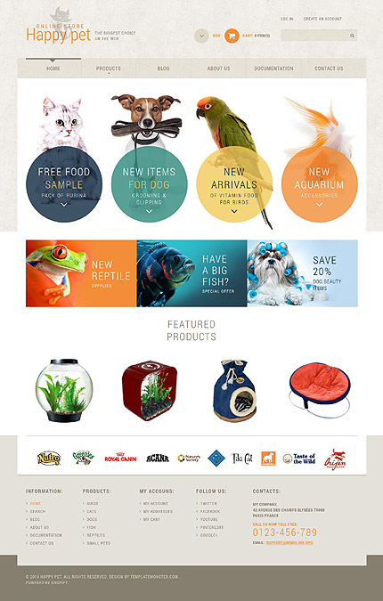 Template 52131 - Pets Store Responsive Shopify Theme with Circle and Product Animations and Hover Effects