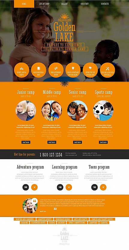 Template 51707 – Camping Moto CMS HTML Template with Circle Design, Gallery and Hover Effects