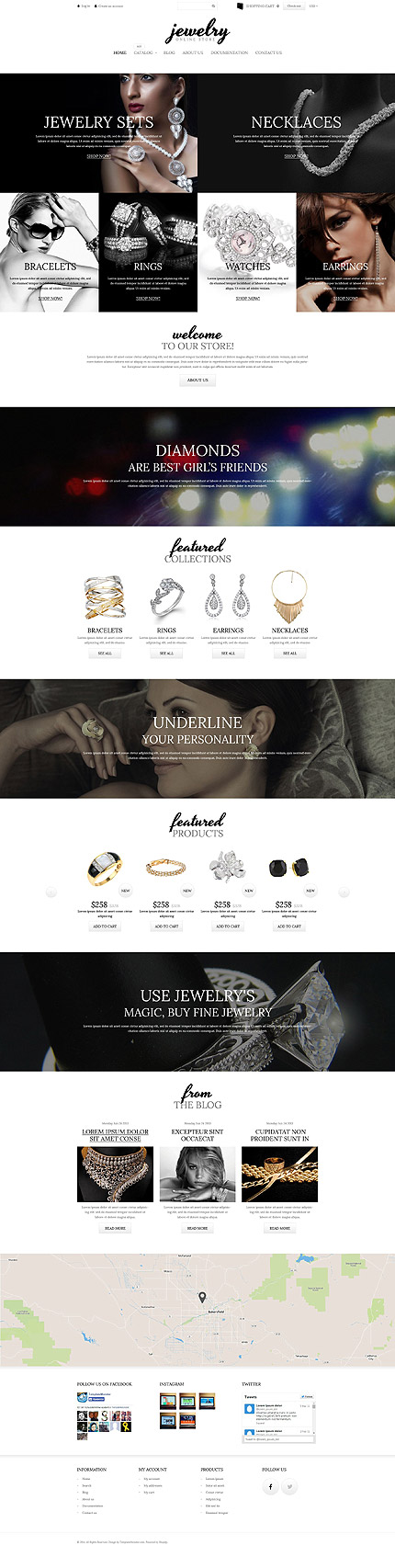 Template 52253 - Jewelry Store Responsive Shopify Theme with Video Background, Parallax, Product Animations, Hover Effects, and Blog