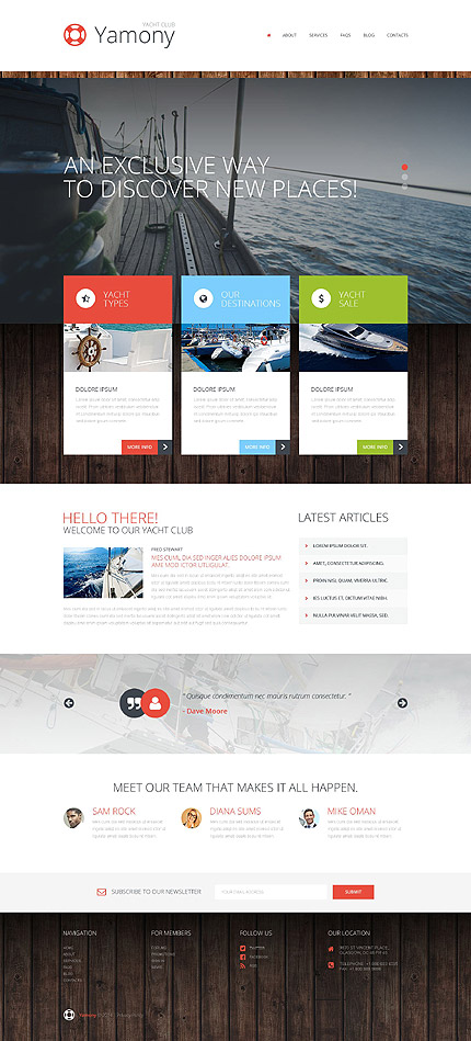Template 52270 - Yacht Responsive WordPress Theme with Lazy Load Effects, Parallax Slider, Carousel, Gallery and Blog
