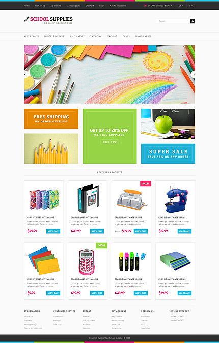 Template 52325 - School Supplies Responsive OpenCart Template with Slider, Product Slideshows with Image Zoom