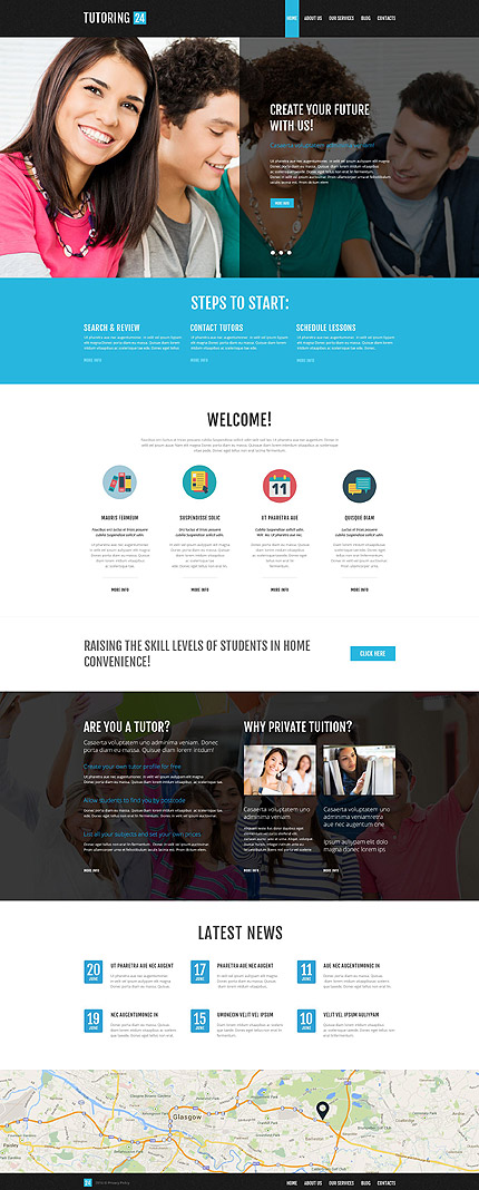 Template 52267 - Tutoring24 Library Responsive WordPress Theme with Slider, Gallery, Blog with Lazy Load Effect