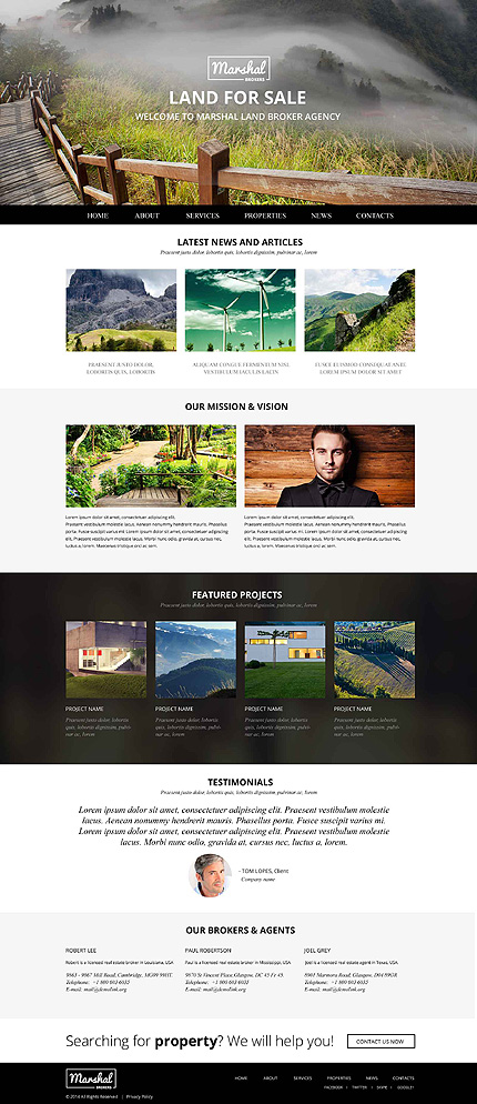 Template 52546 –Land Broker Agency Responsive Website Template with Large Header Image