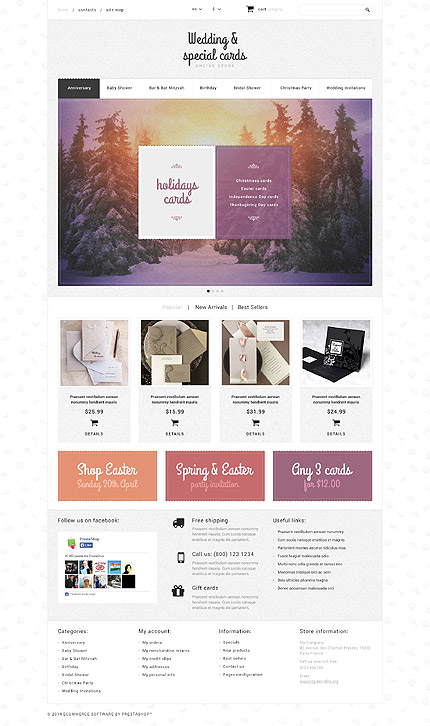 Template 52566 - Wedding and Special Cards Responsive PrestaShop Theme with Homepage Slider, Product Slideshows with Image Zoom