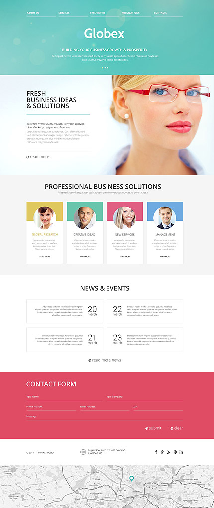 Template 52571 - Business Responsive Website Template with Green Bokeh Slider