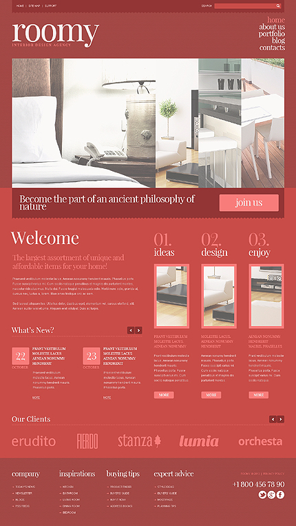 Template 45292 - Red on Red Interior Design Responsive Joomla Template with Slider, Portfolio and Blog
