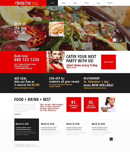 Template 48677 - Mexican Restaurant Responsive WordPress Theme with Slider, Blog and Portfolio