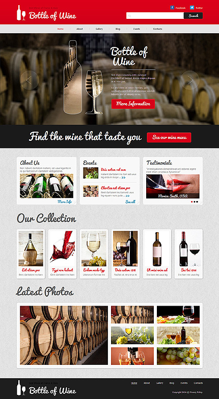 Template 48696 - Wine Store Responsive Joomla Template with Unique Slider,Gallery and Blog