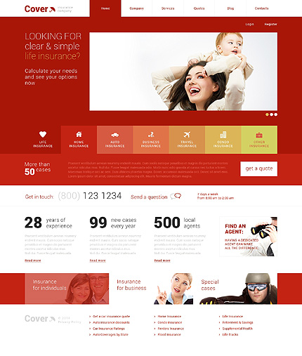 Template 48706 - Insurance Responsive WordPress Theme with Slider, Gallery and Blog