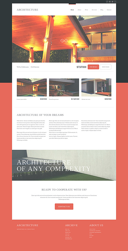 Template 50882 - Architecture Company Responsive Joomla Template with Slider, Gallery and Blog