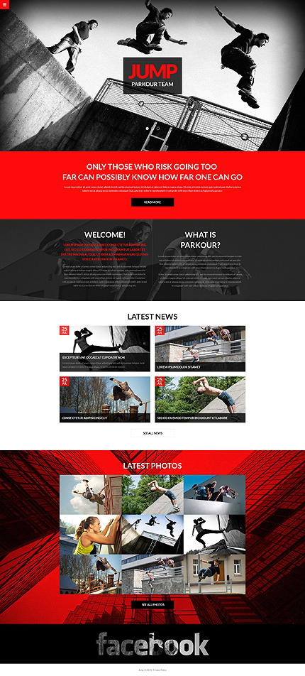 Template 51385 - Jump Responsive Sporting Bootstrap One-page Website Template with Slider and Gallery