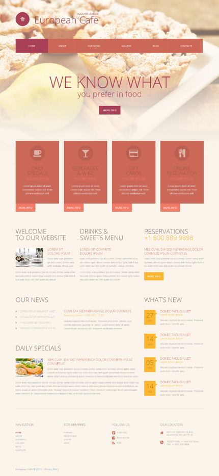 Template 52062 - Restaurant Cafe Responsive WordPress Theme with Blog and Gallery, Lazy Load Effects