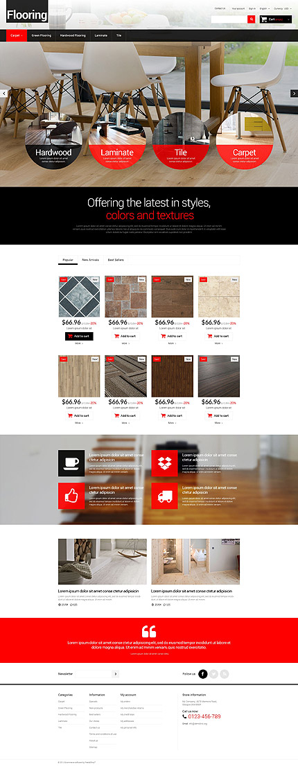 Template 52454 - Home Flooring Responsive PrestaShop Theme with Slider, Product Slideshows with Image Zoom, Product Carousels
