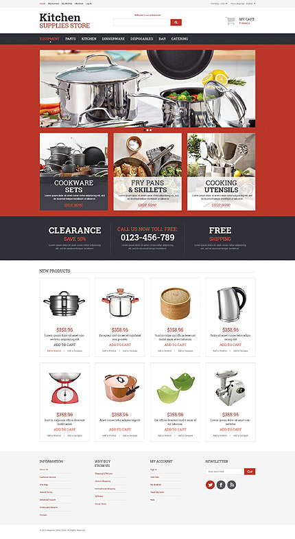 Template 52485 - Kitchen Cookware Responsive Magento Theme with Image Slider, Product Slideshows with Image Zoom, Video, Product Carousels