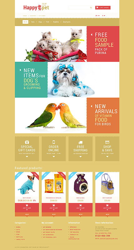 Template 52626 - Pets Online Responsive PrestaShop Theme with Product Slideshows and Image Zoom, Animations