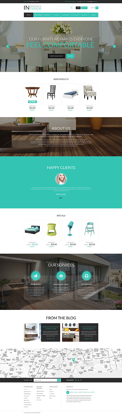 Template 52693 - Furniture Company Responsive Magento Theme with Slider, Parallax Banners, Product Slideshows with Zoom, Blog
