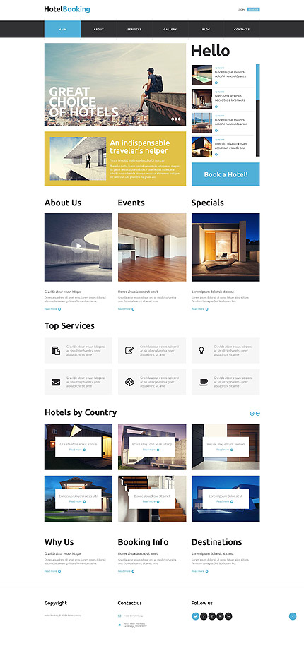 Template 52815 - Hotel Booking Responsive Website Template with Slider, Gallery and Blog