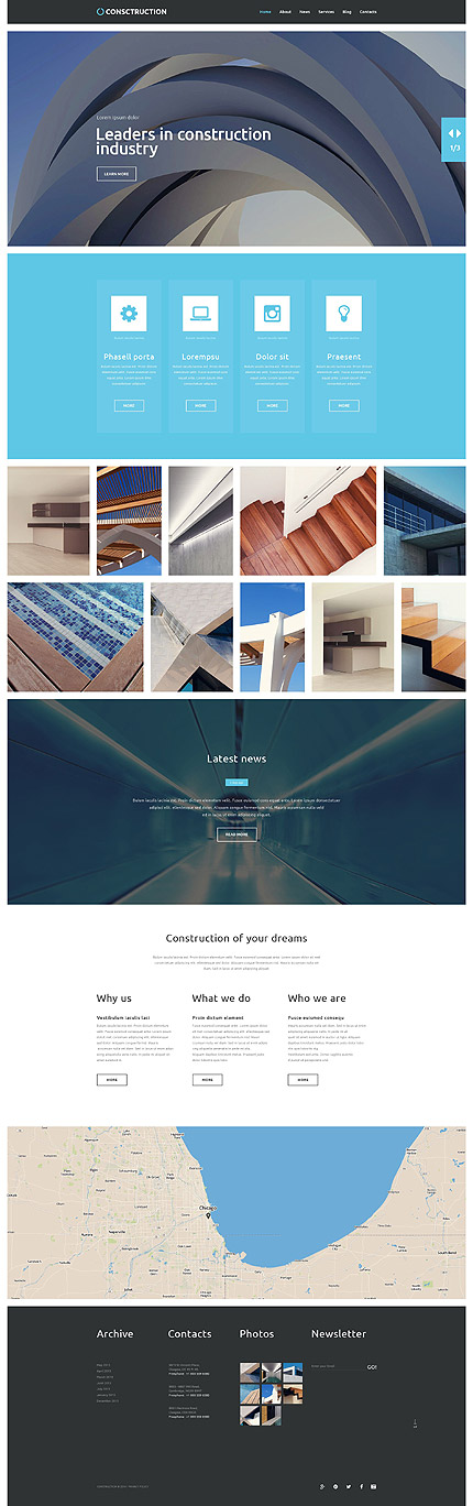Template 52833 - Construction Architecture Responsive WordPress Theme with Parallax Slider, Gallery, Blog and Lazy Load