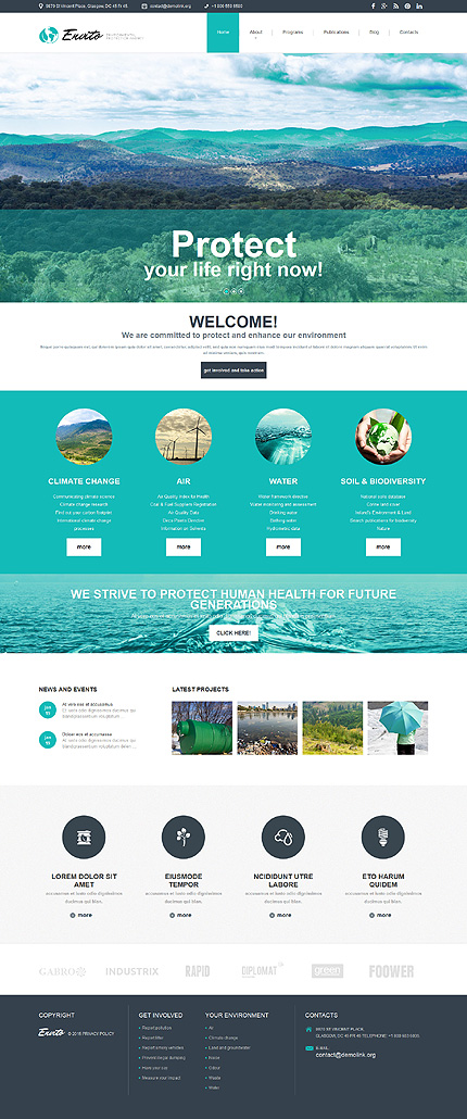 Template 52842 - Energy Responsive Joomla Template with Slider, Gallery and Blog