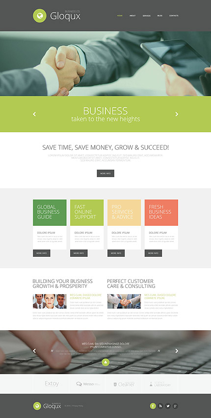 Template 52877 - Business Responsive Website Template with Slider, Carousel, Gallery and Blog