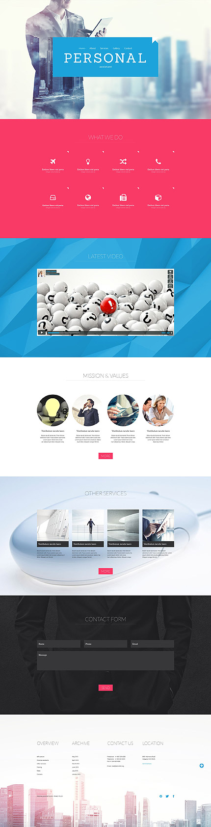 Template 52886 - Personal Assistant Services Responsive One-Page Website Template with Video, Icons, Overlays and Circles