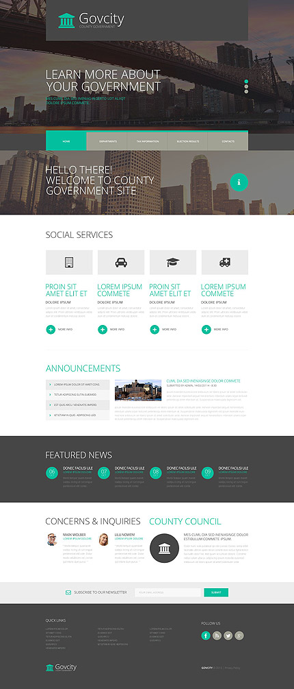 Template 52938 - County Government Responsive Website Template with Slider, Portfolio, Social and Media Add-ons