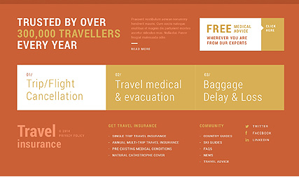 Footer for Template 51129 - Travel Insurance Responsive WordPress Theme