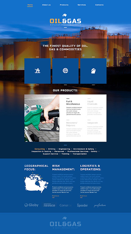 Template 52502 - Oil And Gas Responsive Website Template with JS Animation and Parallax