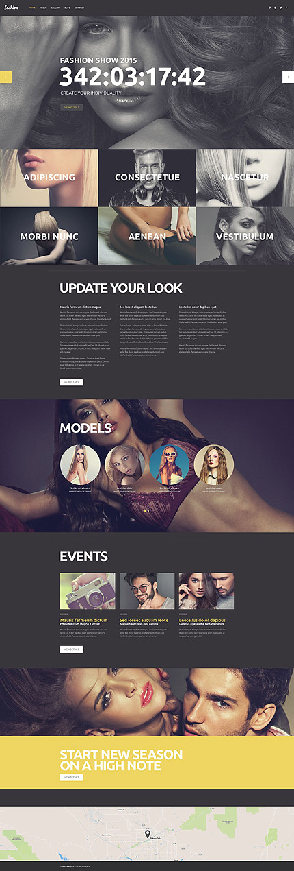 Template 53263 - Fashion Agency Responsive WordPress Theme with Portfolio and Blog