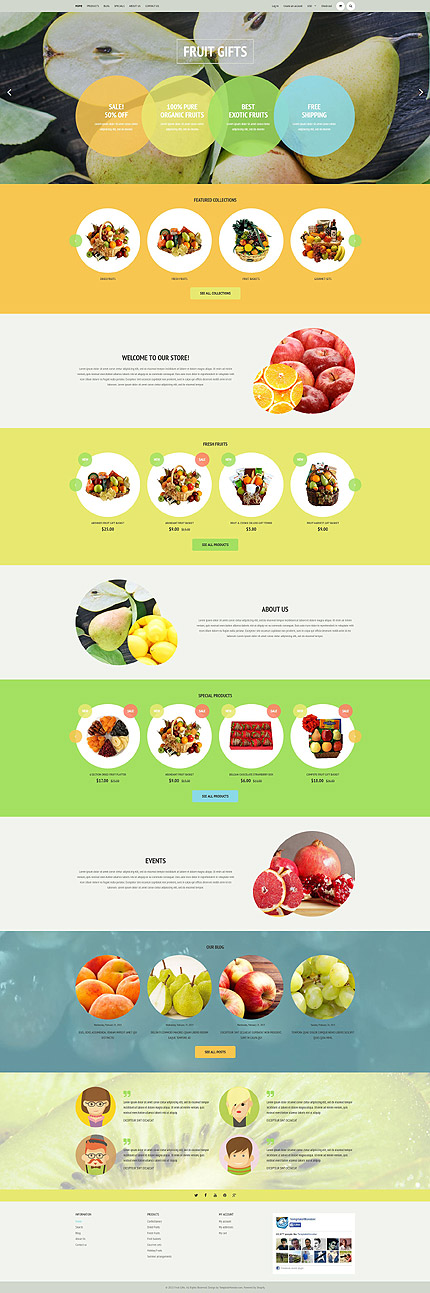Template 53345 – Fruit Gifts Responsive Shopify Theme with Bootstrap, Slider, Carousel, Product Slideshows with Image Zoom