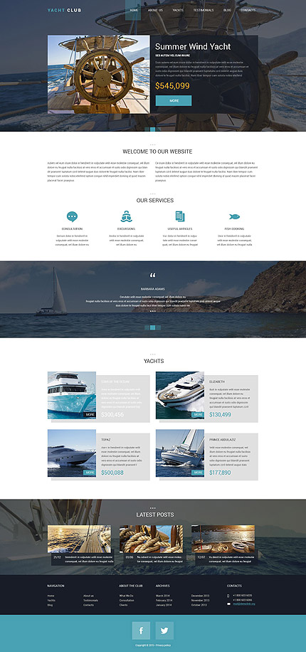 Template 53349 - Yacht Club Responsive Drupal Template with Slider, Portfolio,Blog, Parallax, Lazy Load Effect