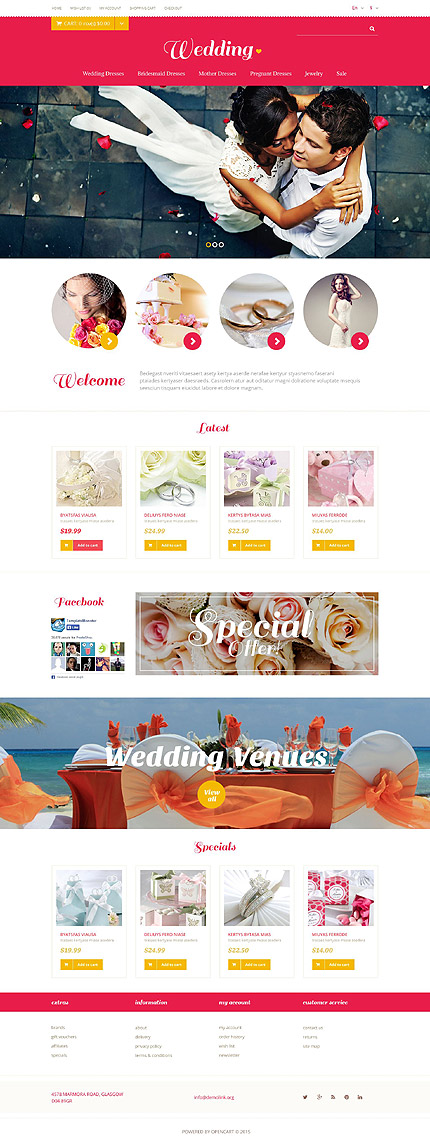 Template 53405 - Wedding Store Responsive OpenCart Template with Slider, Product Slideshows with Zoom, Video, Carousel