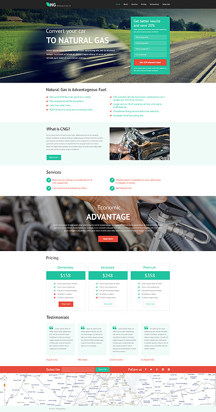 Alternative Power Responsive Landing Page Template with Parallax, Lazy Load Effect, Booking Form, Subscription Form