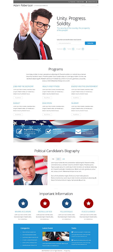 Political Candidate Responsive Landing Page Template with Newsletter Subscription, Search Form