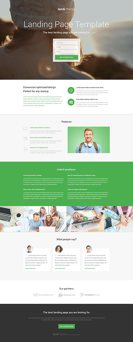 Software Responsive Landing Page Template with Contact Form, Background Video, Gallery, Call to Action
