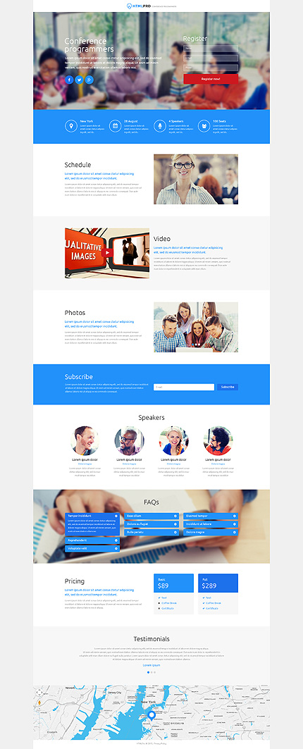 Template 53178 - Blue Software Development Conference Responsive Landing Page Template with Parallax, Animations, Slider, Accordion Panels
