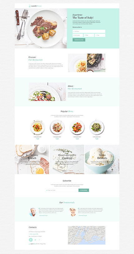 Template 53202 - Restaurant Responsive Landing Page Template with Animations, Reservation Form, Subscription Form