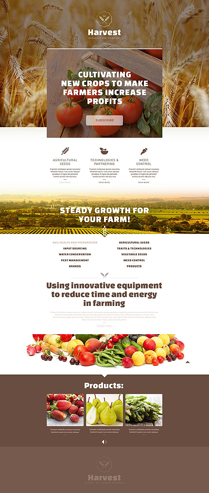 Template 53462 - Harvest Agriculture Responsive Landing Page Template