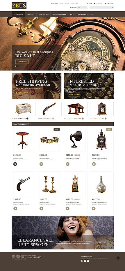 Template 53946 - Antique Store Responsive ZenCart Template