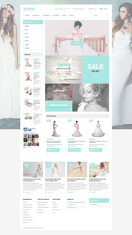 Template 53962 - Wedding Store Responsive Magento Theme