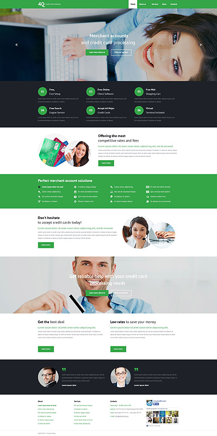 Template 53969 - Credit Card Processing Responsive Website Template