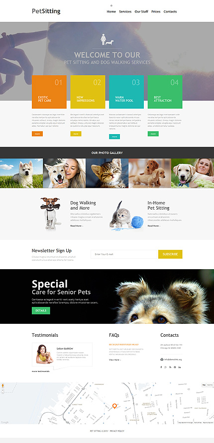 Template 54704 - Pet Sitting Responsive Website Template with Video Background and Photo Gallery