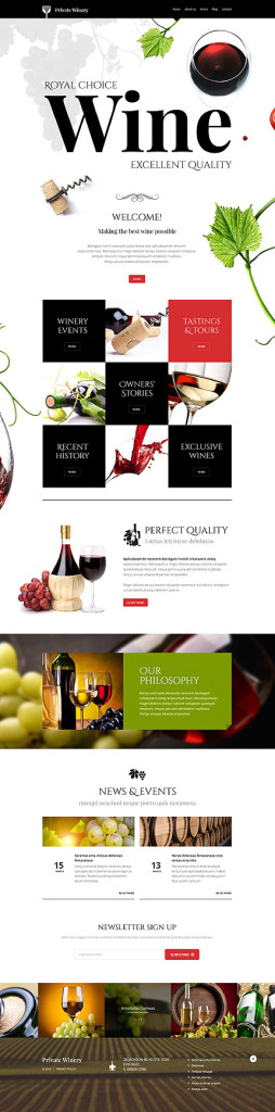 Template 54789 - Wine Responsive WordPress Theme with Parallax, Blog,  Lazy Load Effect and Gallery