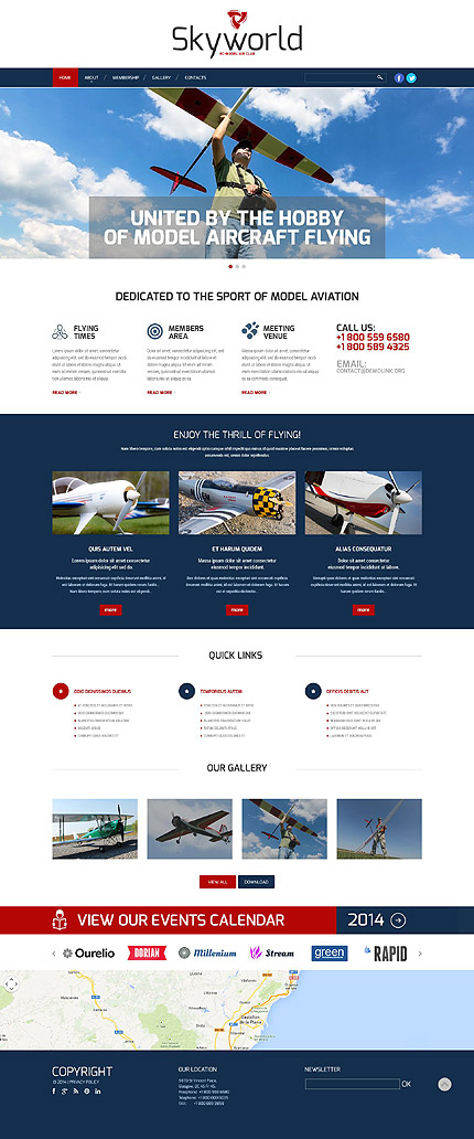 Template 52287 - Model Flying Club Responsive Website Template with Gallery and Bootstrap