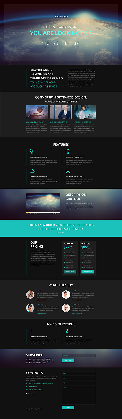 Template 53502- Communications Company Responsive Landing Page Template With Newsletter Subscription, Contact Form,Video